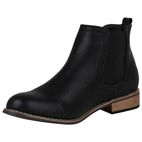 Stiefelparadies Damen Stiefeletten Chelsea Boots mit Blockabsatz Profilsohle Flandell Schwarz Berkley