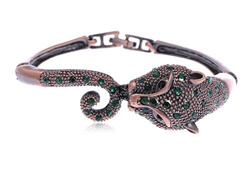 Alilang Copper Tone Emerald Green Colored Rhinestones Jaguar Tiger Bangle Bracelet (Colored Rhinestone Costume Jewelry)