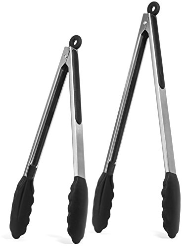 Silicone Bakeware Solutions Set (Elite KitchenwareTM Stainless Steel Tongs Set - Salad Tongs - Serving Tongs - Kitchen Tongs - 12 Inch & 14 Inch Cooking Tongs With Silicone Tips, Perfect Tongs For All Food & BBQ - Kitchen Utensils)