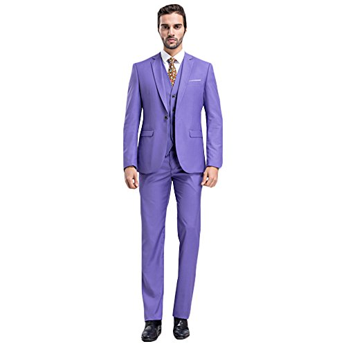MAGE MALE Men's Plaid 3 Piece Suit Modern Slim Fit Two-Button Single Breasted Wedding Formal Party Blazer Vest Trouser Set, Purple, -