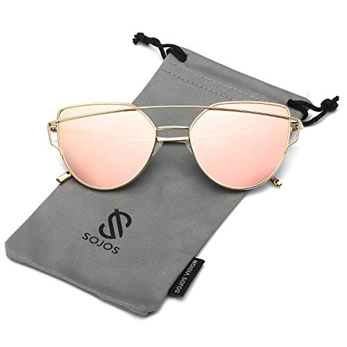SOJOS Cat Eye Mirrored Flat Lenses Street Fashion Metal Frame Women Sunglasses SJ1001 with Gold Frame/Pink Mirrored Lens