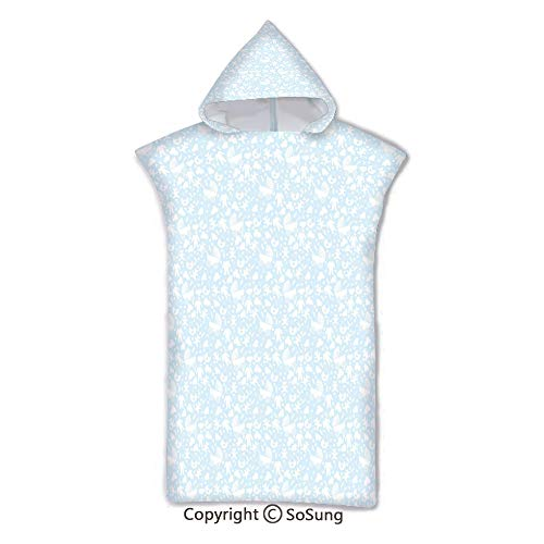 - Baby Kids Hooded Beach Bath Towel,Hearts Background with Teddy Bears Strollers Infant Clothes Newborn Child Theme Decorative,7-15 Years Old Microfiber Bath Robe,Pale Blue White,for Beach Pool Shower