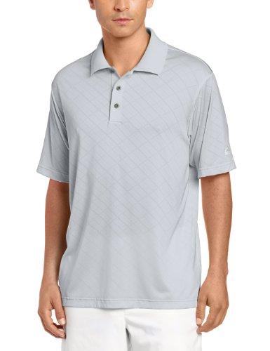 adidas Golf Men's Climacool Diagonal Textured Solid Polo Shirt, Chrome/White, Medium ()