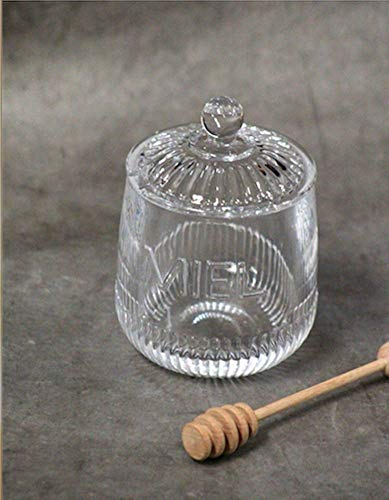 French Inspired Glass Honey Jar ''Miel'' with Wood Honey Dipper by Kiss That Frog