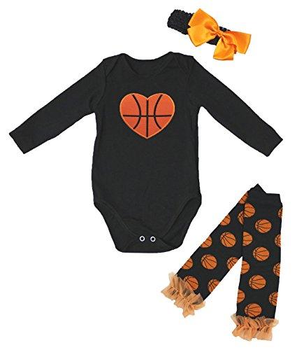 Petitebella Basketball Heart Black L/s Baby Bodysuit Leg Warmer Nb-18m (3-6 Months)