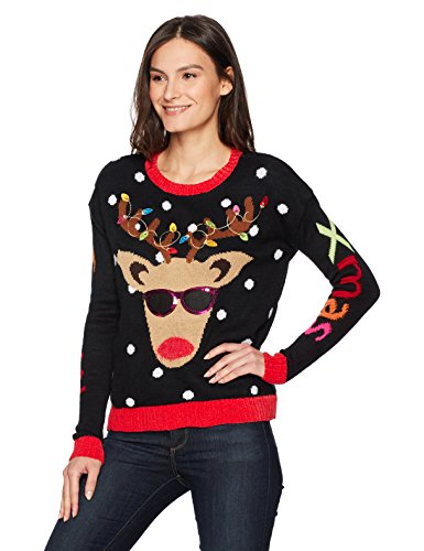 Blizzard Bay Women's Light Up Reindeer Crew Neck Christmas Sweater, Black X-Small