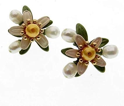 YoJu Decoración del Hogar Bodas Flores Flores Secas Perlas Naturales, Japón, Azahar, Verde Amarillo Natural, Pendientes Retro De Mujer