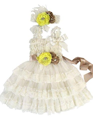 Rosy Kids Girl's Vintage Chic Flower Girl Lace Dress Flower Sash Hair Flower, Ivory Dress Champagne Sash Lemon Yellow Flower, S -