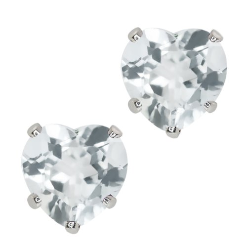 Heart Shape Aquamarine Earrings - 8