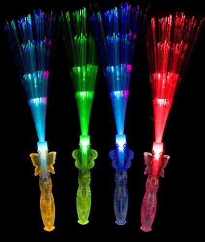 Fun Central AT768, 12 Pcs Assorted 12 Inch LED Fiber Optic Princess Wands, Glow Wand, Flashing Wands, Light Up Magic Wand for Princess Themed Party, Fairy Themed Party, and Costume Party