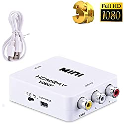 Tripsky HDMI to AV/RCA,1080P Mini RCA Composite CVBS AV to HDMI Video Audio Converter Adapter Supporting PAL/NTSC with USB Charge Cable for PC Laptop Xbox PS4 PS3 TV STB VHS VCR Camera DVD