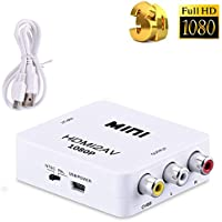 Tripsky HDMI to AV/RCA,1080P Mini RCA Composite CVBS AV Output Video Audio Converter Adapter with USB Charge Cable, Supporting PAL/NTSC for PC Laptop Xbox PS4 PS3 TV STB VHS VCR Camera DVD