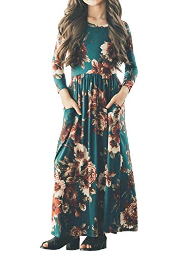 Cute Dresses For 12-13 Year Olds (MITILLY Girls Flower 3/4 Sleeve Pleated Casual Swing Long Maxi Dress with Pockets 12 Years)