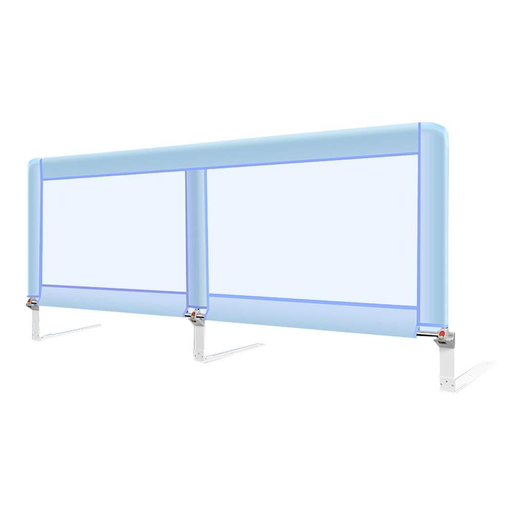ベッドフェンス- キッズベッドレール、ベビーベッド用ガードセーフティ折り畳み式ロングガードレール(幼児用/アダルトベッド用)シングルベッドレール、1.8m (色 : 青)  青 B07JJ6LJ6L