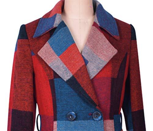 Femme Grid Stitching Plaer Manteau Color YvOFxfZS
