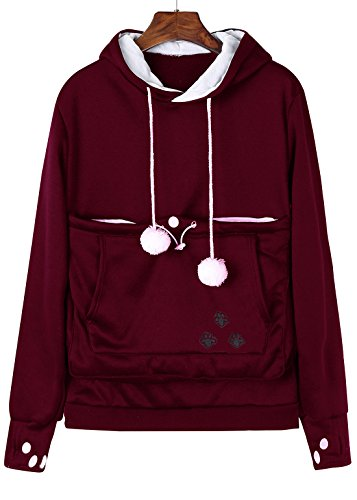 Fabric Red Fleece Print - Anbech Unisex Big Kangaroo Pouch Loose Fleece Hoodie Long Sleeve Pullover Little Pet Cat Dog Holder Carrier Sweatshirts (Wine red-Fleece, XL)