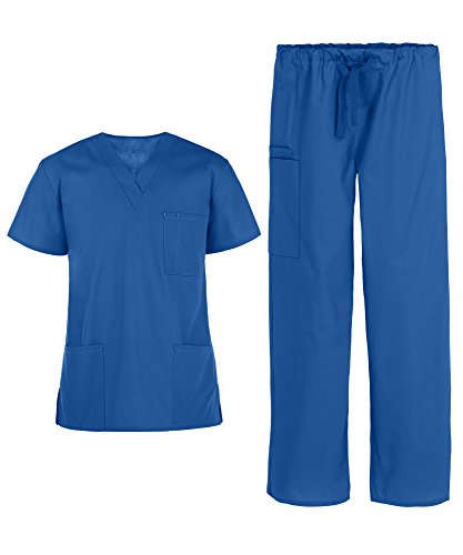 Men's Medical Uniform Scrub Set – Includes 3 Pocket V-Neck Top and Drawstring Pant (XS-3X, 14 Colors) (XX-Large, Royal)