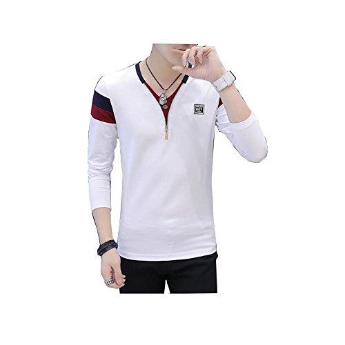Tシャツ メンズ 長袖 カジュアル シャツ ゴルフ スポーツ ウェアシャツ無地 Vネック