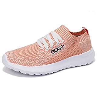 Forucreate Womens Comfortable Walking Sock Shoes Flats Casual Work Sneakers Tennis Shoes(Pink 38)