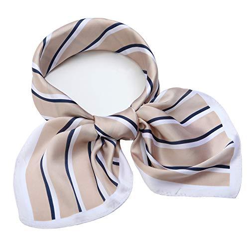 Silk Like Scarf Square Satin Hair Scarf Fashion New Stripe Neck Scarfs for Women Beige 27'' x 27''