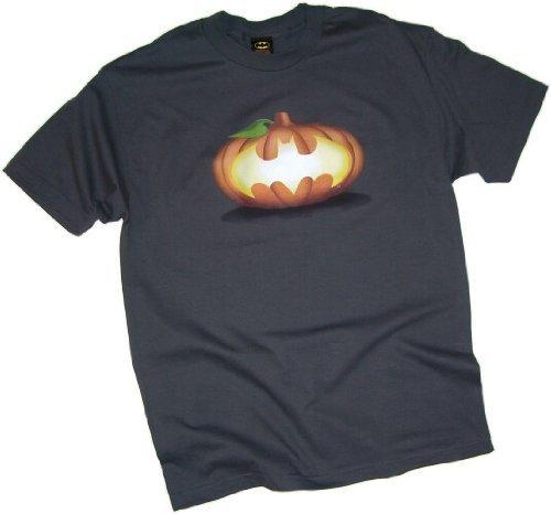 Batman -- Halloween Pumpkin Shield Adult T-Shirt, Large