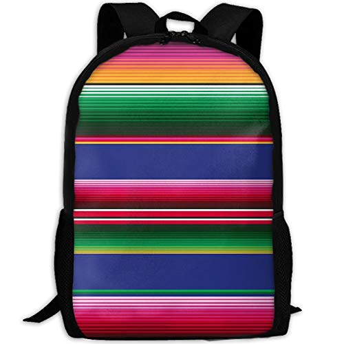Travel Backpack Laptop Backpack Large Diaper Bag - Colorful Mexican Blanket Stripes Backpack School Backpack For Women Men by SAPLA