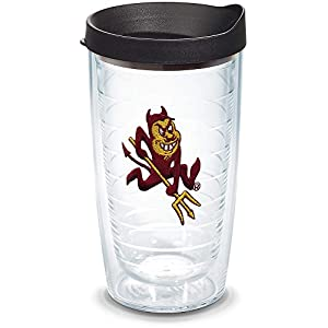 Tervis 1084538 Arizona State Sun Devils Sparky Mascot Tumbler with Emblem and Black Lid 16oz, Clear