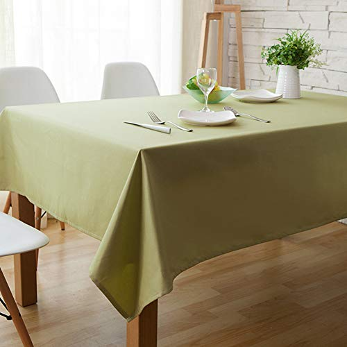 (CH&Q Thicken Solid Color Simple Style Table Cover - Great for Everyday Kitchen/Dinner Parties/Picnics Table Cloth - Cotton Linen Square Tablecloth 55 x 55 inch - Matcha Green)