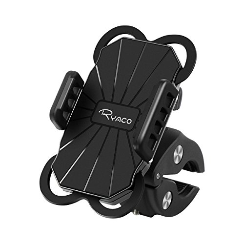 RYACO Bike Phone Holder, Bicycle Phone Mount, 360 °Rotatable Anti-Shake Motorcycle Smartphone Holder with Extendable Silicone Strap for iPhone X, 8,7,6S, Samsung S9+, GPS, other 3.5-6.2