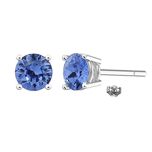 Swarovski Earrings, GLIMMERING September Birthstone Sapphire Color Swarovski Stud Earrings for Women and Girls, Swarovski Crystals Studs Earrings with Certificate and Warranty, Hypoallergenic Earrings Blue Sapphire Crystal Earrings