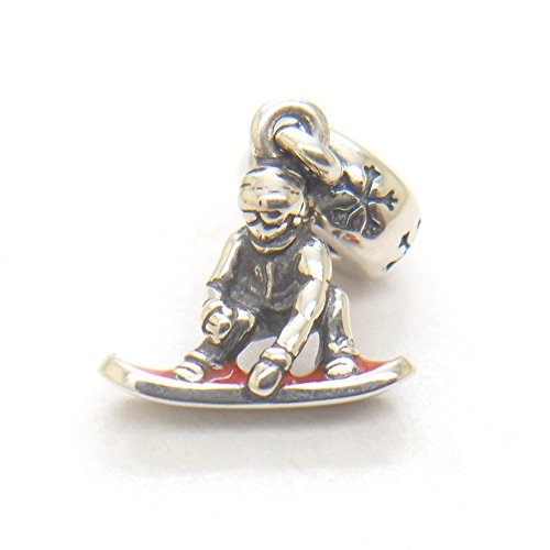 Christmas Gift Genuine Authentic 925 Sterling Silver Dangle Red Snowboarder Charm For Pandora Bracelet Beads+ gift - Best Snowboarders