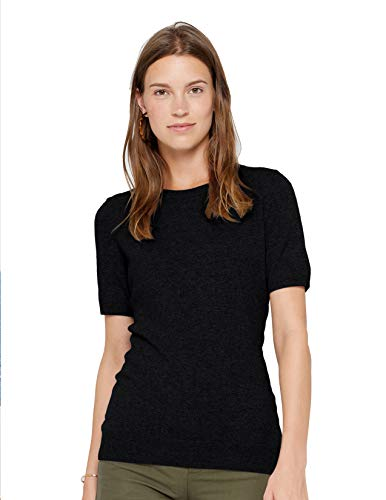 State Cashmere Short Sleeve Crew Top Sweater 100% Pure Cashmere Classic Jewel Neck Pullover Tee for Women (X-Large, Black)