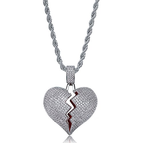 TOPGRILLZ Iced Out Lab Premium Simulated Diamond Bling Bubble Brokenheart Pendant Necklace Chain for Men Women Fashion Jewelry Gifts (Silver BrokenHeart)