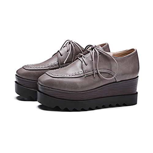 Show Shine Dames Casual Veterschoen Platform Oxfords Schoenen Grijs