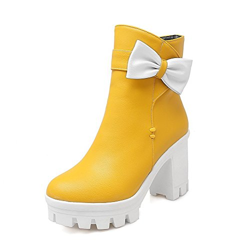 Allhqfashion Women's Low-Top Solid Zipper Round Closed Toe High-Heels Boots Yellow TpL1YYMui