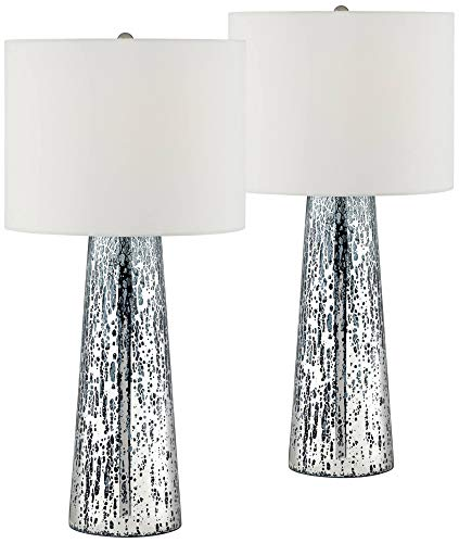 Marcus Coastal Table Lamps Set Of 2 Mercury Glass Tapered Column White Drum Shade For Living Room Family Bedroom 360 Lighting