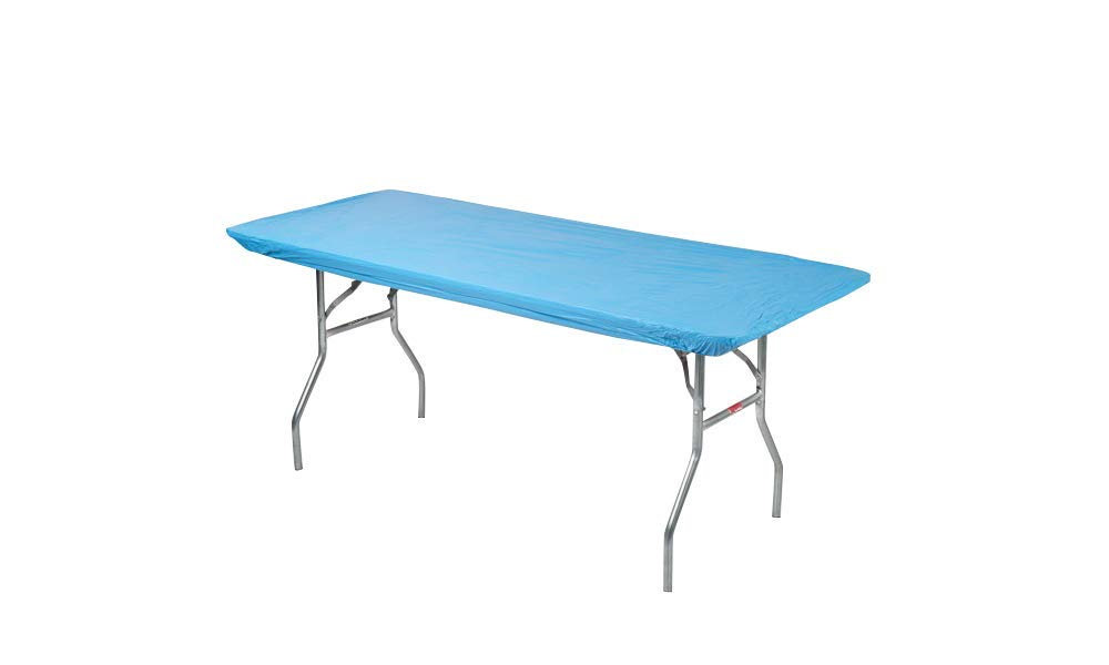 Kwik-Covers 6' Rectangle Plastic Table Covers 30'' x 72'', Bundle of 5 (Light Blue)