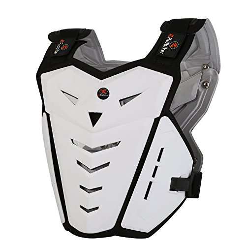 (RIDBIKER Motorcycle Armor Vest Motorcycle Riding Chest Armor Back Protector Armor Motocross Off-Road Racing Vest,White)