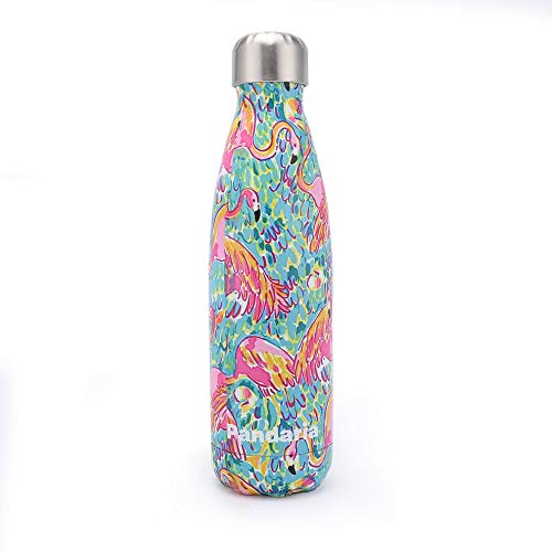 - Pandaria 17oz Stainless Steel Vacuum Insulated Water Bottle, Leak-Proof Double Walled Cola Shape Bottle Keeps Drinks Cold for 24 Hours & Hot for 12 Hours, Flamingo