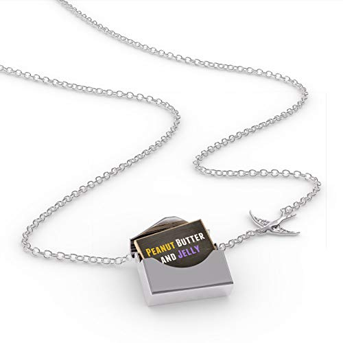 NEONBLOND Locket Necklace Peanut Butter and Jelly in a Silver Envelope