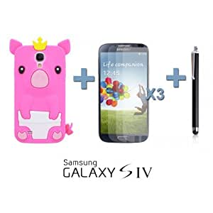 OnlineBestDigital - Piggy Style Silicone Case for Samsung Galaxy S4 IV I9500 / I9505 - Hot Pink with 3 Screen Protectors and Stylus
