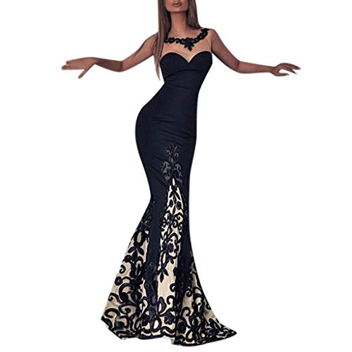 O-ring Long Gown - Copercn Women's Ladies Sexy Elegant Lace Embroidered Perspective Tulle Patchwork Bandeau Wave Collar Sleeveless Bodycon Maxi Dresses Slim Fit Evening Long Dresses Prom Party Gown Mermaid Dresses