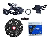 JGbike Compatible MTB groupset for Shimano M6000 10 Speed,HG500-10 42T, KMC X10 Chain, Sunrace 11-46T CSMX3 Cassette