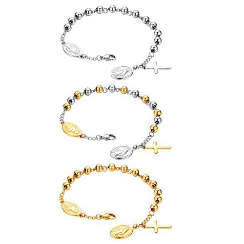 (Flongo Cross Rosary Beads Bracelet, Vintage Stainless Steel Jesus Christ Crucifix Cross Bracelet for Men Women Christmas Wedding)