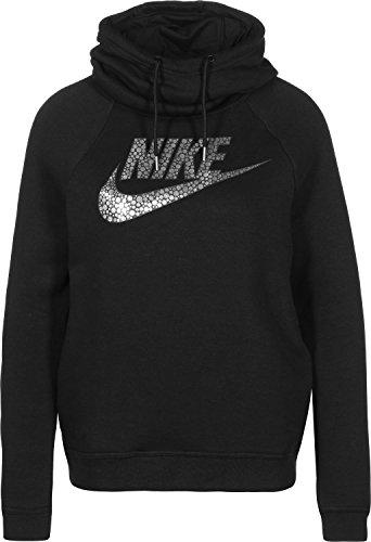 Nike Women's Metallic Sportswear Rally Funnel Neck Hoodie (L, Black)