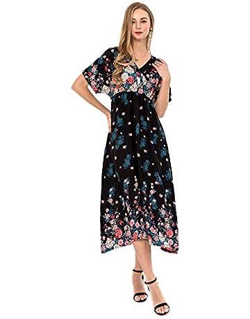 4dc43d85ebc Wantdo Women s Halter Boho Maxi Dress Summer Floral V Neck Casual Long  Dresses