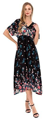 Wantdo Women's V Neck Maxi Dress Floral A Line Beach Dresses Black Flower S