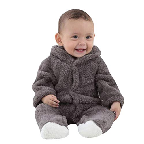 - New!!Toddler Baby Keep Warm Hooded Coat,Newborn Boys Snowsuit Girls Boys Long Sleeves Clothes (3M, Gray)