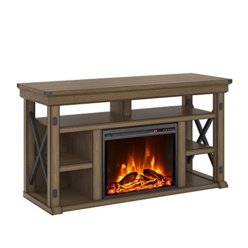 Cheap Ameriwood Home Wildwood Fireplace TV Stand Rustic White Black Friday & Cyber Monday 2019
