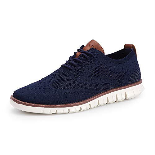 COOJOY Men's Mesh Wingtip Oxford Breathable Walking Shoes Casual Lightweight Lace up Sneaker, Navy 9.5